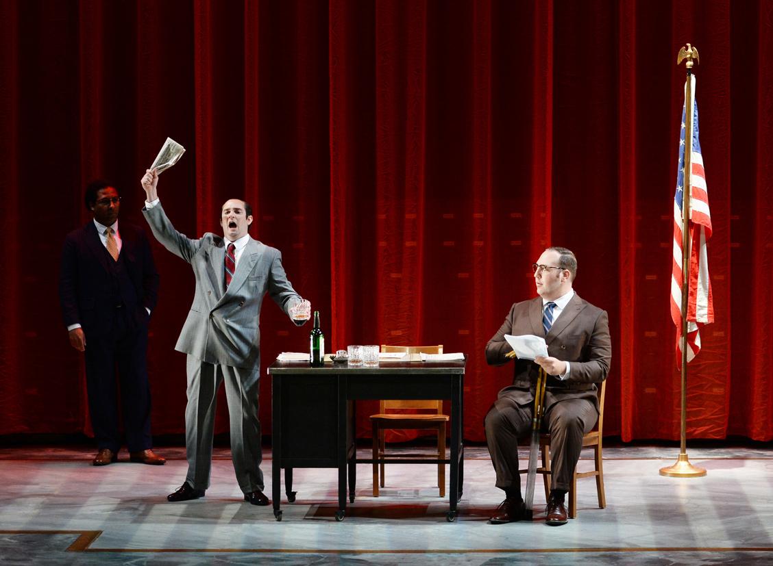 Benjamin Taylor (left) as Tommy McIntyre, Nathaniel Hill as Sen. McCarthy, Craig Juricka (right) as Sen. Potter