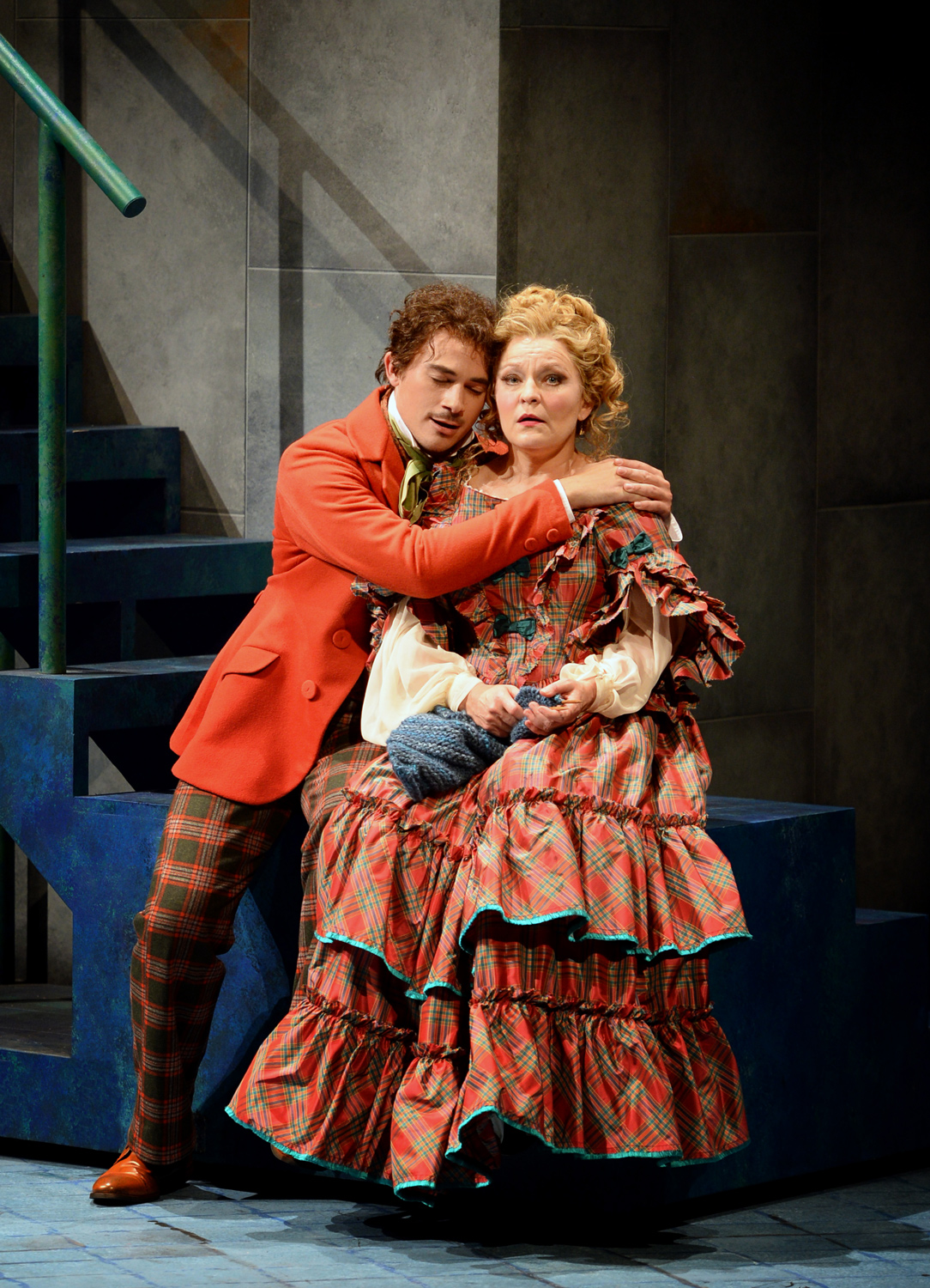 Christian Sanders as Tobias Ragg and Lucy Schaufer as Mrs. Lovett
