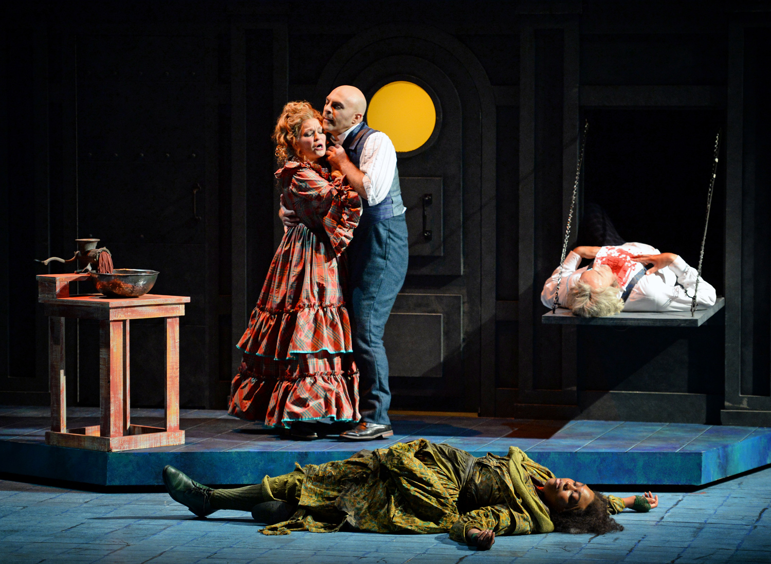 Lucy Schaufer as Mrs. Lovett, Zachary Nelson as Sweeney Todd, Zoie Reams as Beggar Woman and Wayne Tigges as Turpin