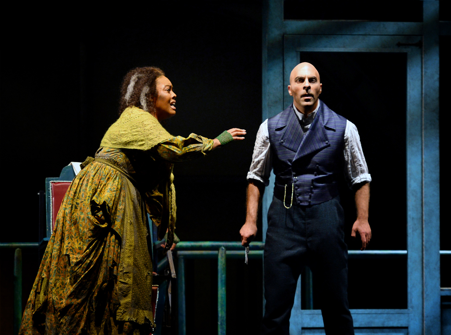 Zoie Reams as the Beggar Woman and Zachary Nelson as Sweeney Todd