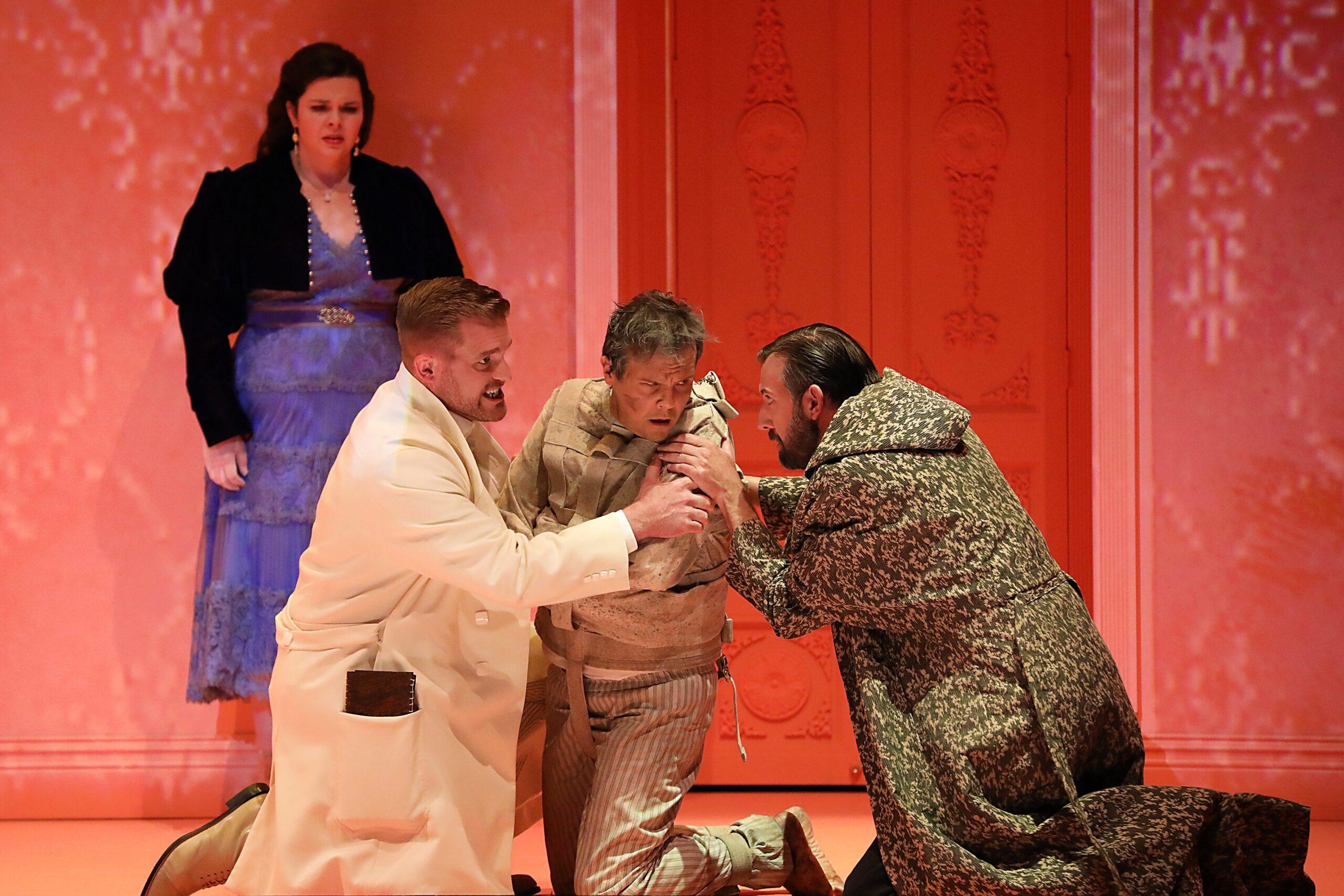 Kathryn Henry (Lucy Harker), Jarrett Ott (John Seward), David Portillo (Jonathan Harker), Matt Boehler (Van Helsing). Photo Credit: Curtis Brown for the Santa Fe Opera, 2021