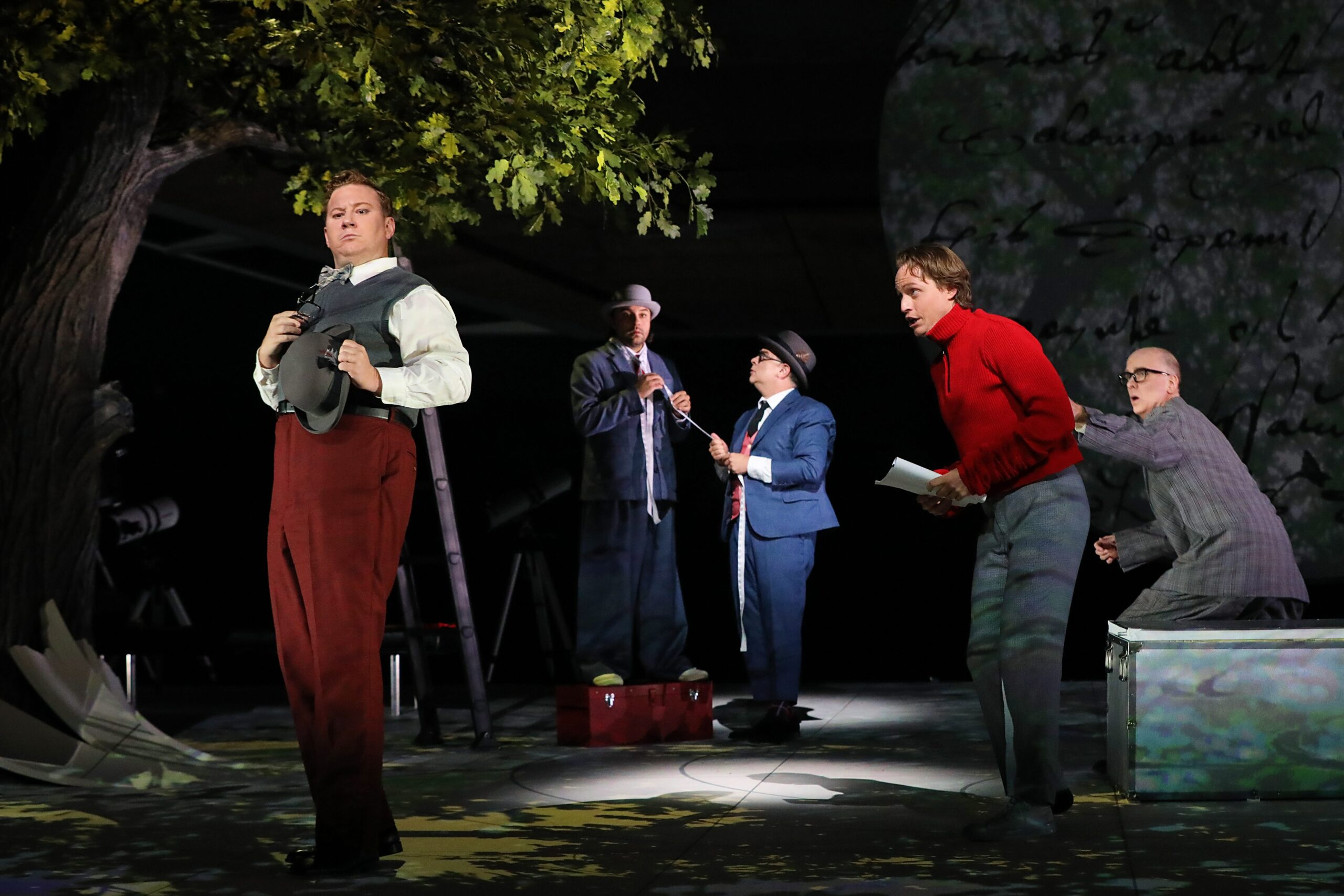 Nicholas Brownlee (Bottom), Matthew Grills (Snout), Patrick Carfizzi (Starveling), Brenton Ryan (Flute), Kevin Burdette (Quince). Photo by Curtis Brown for the Santa Fe Opera, 2021.