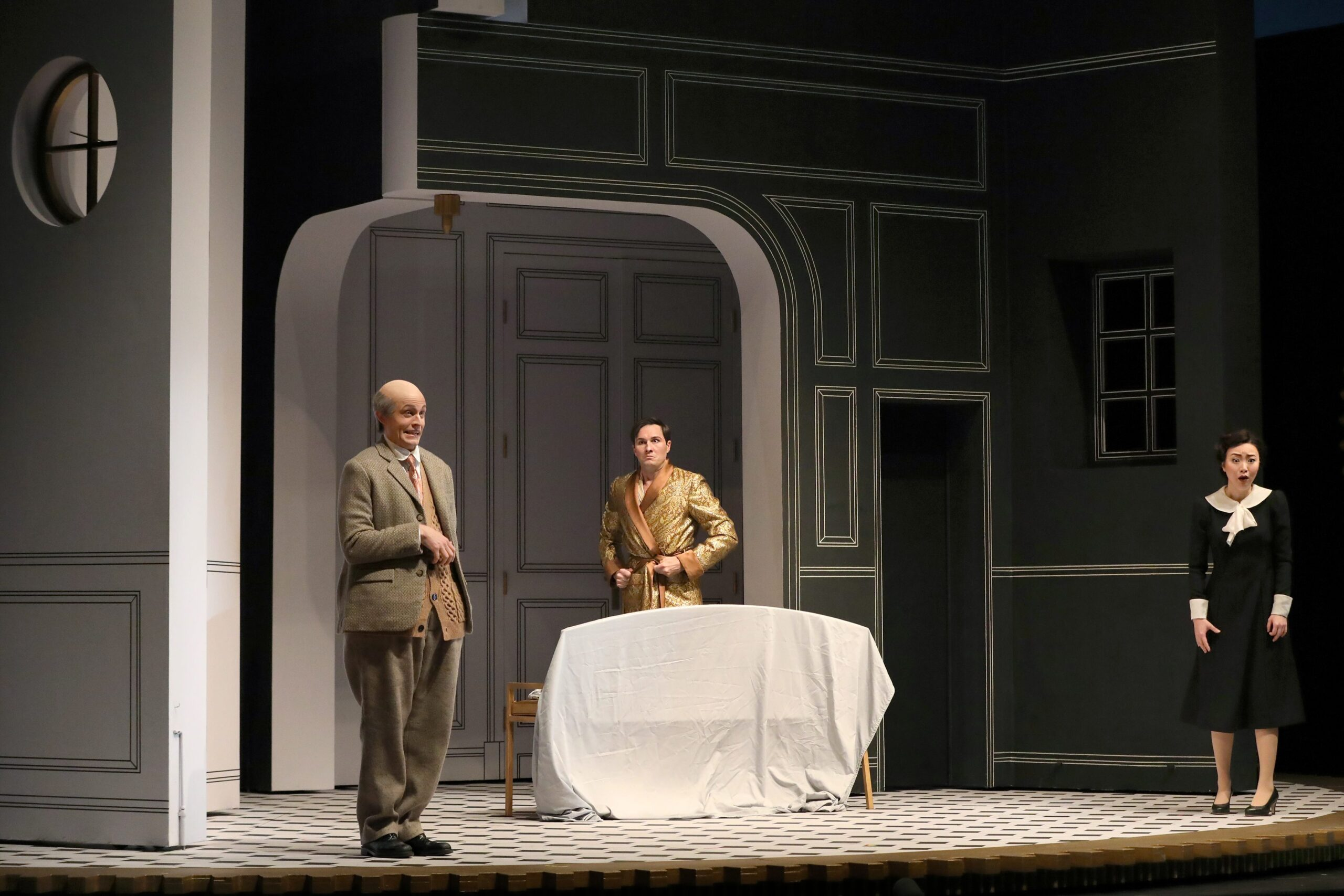 Brenton Ryan (Don Basilio), Samuel Dale Johnson (Count Almaviva), Ying Fang (Susanna). Photo Credit: Curtis Brown For The Santa Fe Opera, 2021
